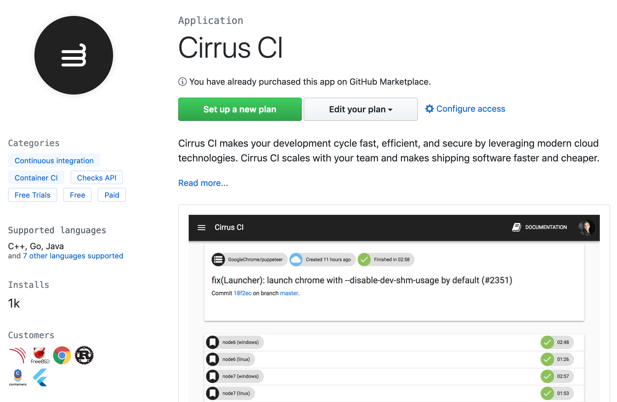 Quick Start - Cirrus CI
